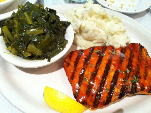 Grilled Atlantic Bar-B-Que Salmon, Vegetarian Collard Greens, Garlic Mashed Potatoes